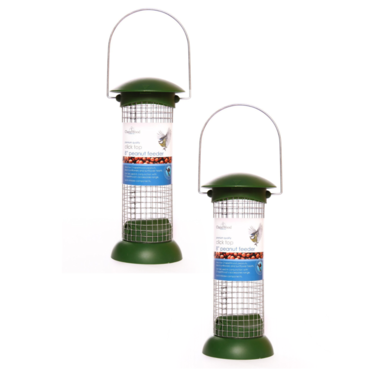 Twin Pack of Chapelwood Click Top Peanut Bird Feeder 8 Inch
