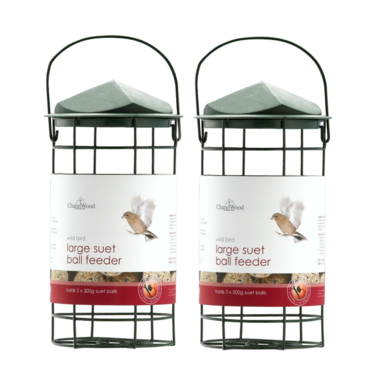 Twin Pack Chapelwood Suet Ball Feeder with Lid Large