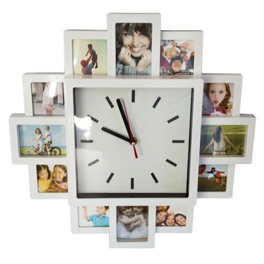 Modern White 12 Photo Frame Clock