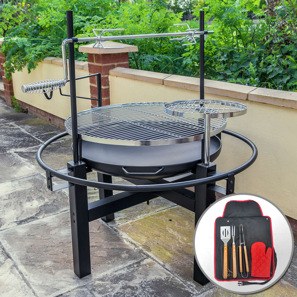 Outdoor round bbq grill with rotisserie and tool set for Garden pond grills
