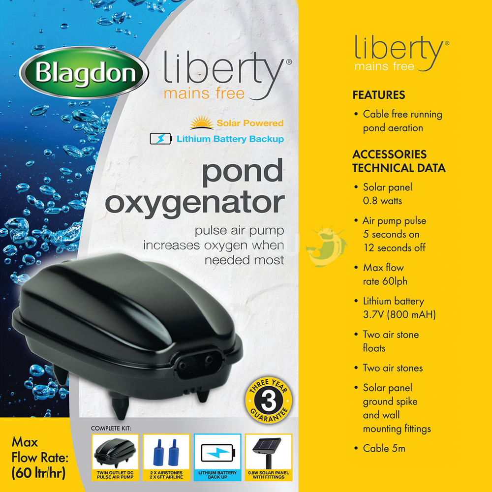 Blagdon Liberty Solar Powered Pond Oxygenator Air Pump
