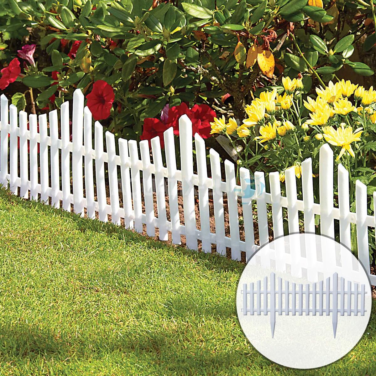 Simple Picket Fence: FLEXIBLE INTERLOCKING WHITE PLASTIC PICKET GARDEN FENCE
