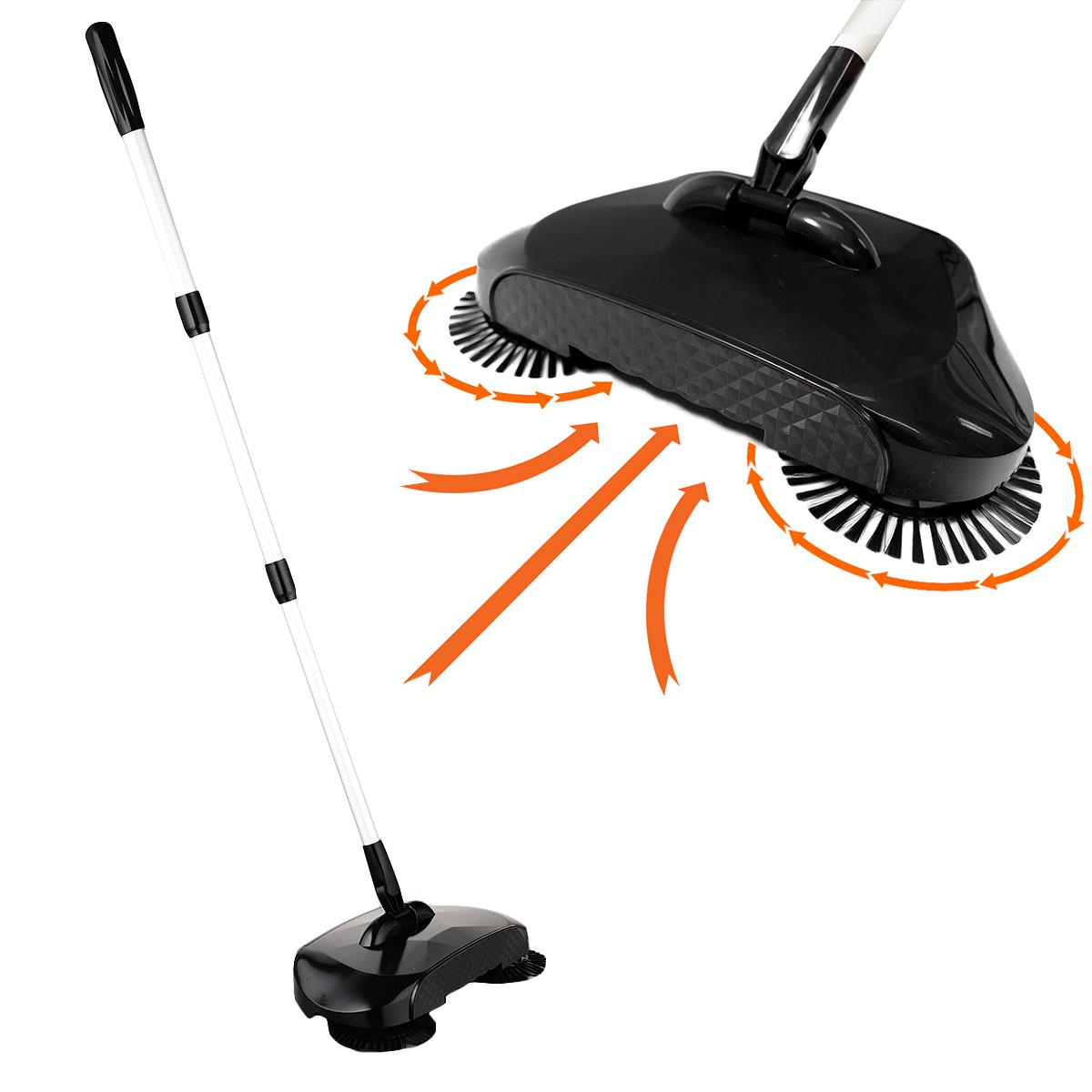 Kct Black Hand Push Floor Sweeper Triple Brush Household