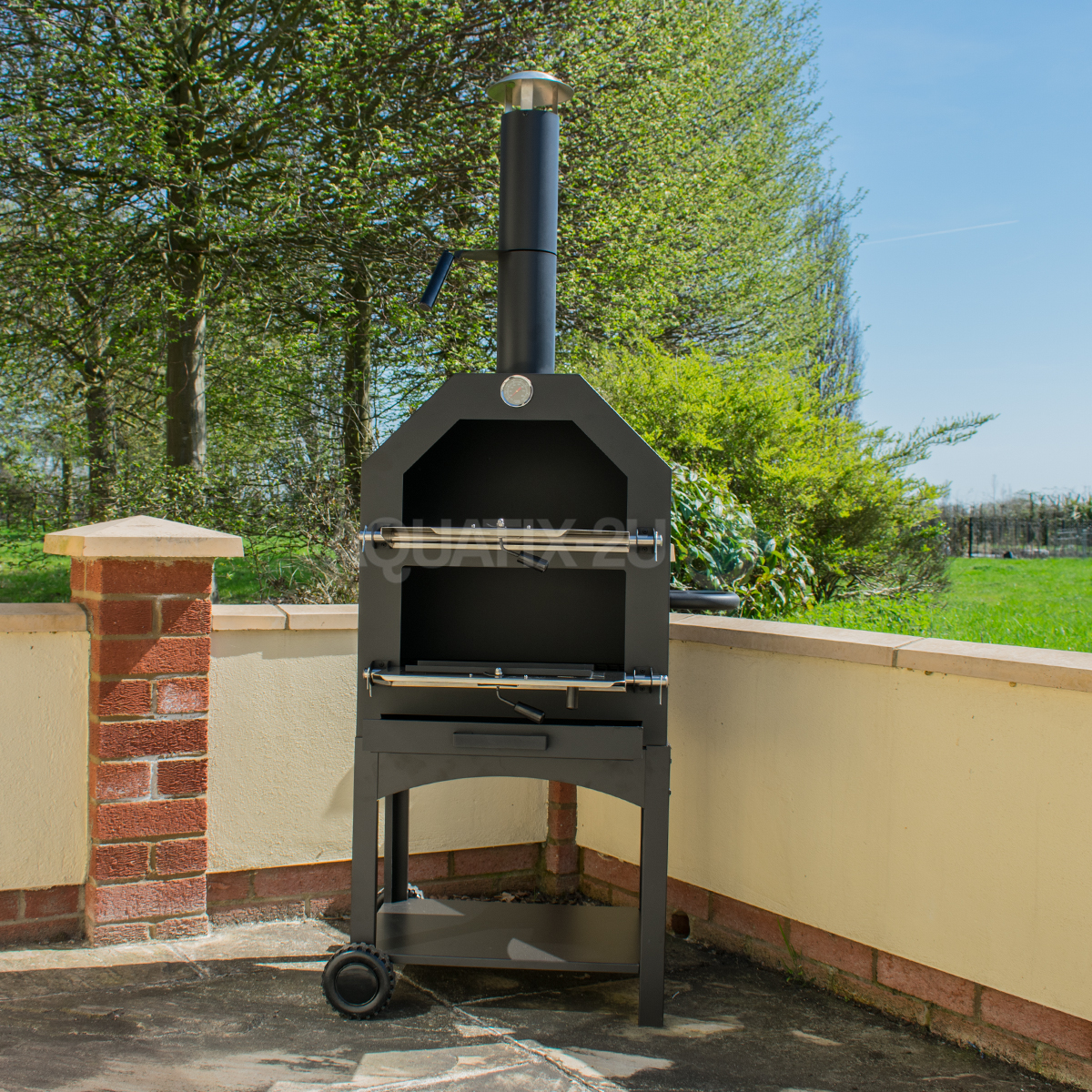 OUTDOOR PIZZA OVEN STEEL BBQ SMOKER CHARCOAL WOOD FIRED