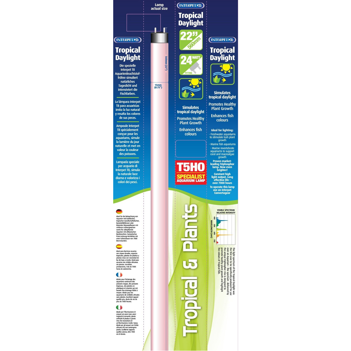 INTERPET 24W TROPICAL DAYLIGHT BULB T5 REPLACEMENT