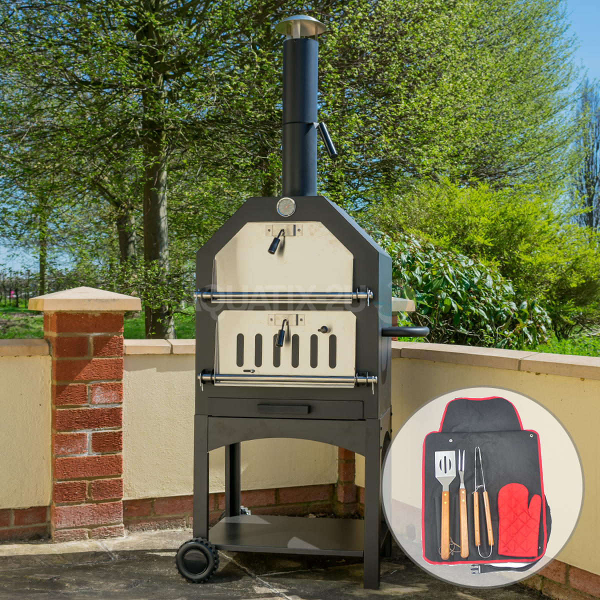 Outdoor Charcoal Pizza Oven Amp Toolset Steel Barbecue Smoker Wood Fired Bbq Grill 5060502535924