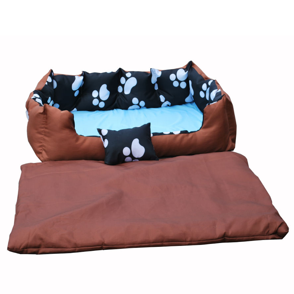 WASHABLE-PAW-PRINT-PET-DOG-PUPPY-CAT-KITTEN-BED-SUPER-SOFT-CUSHION-BASKET-SOFA miniatuur 3