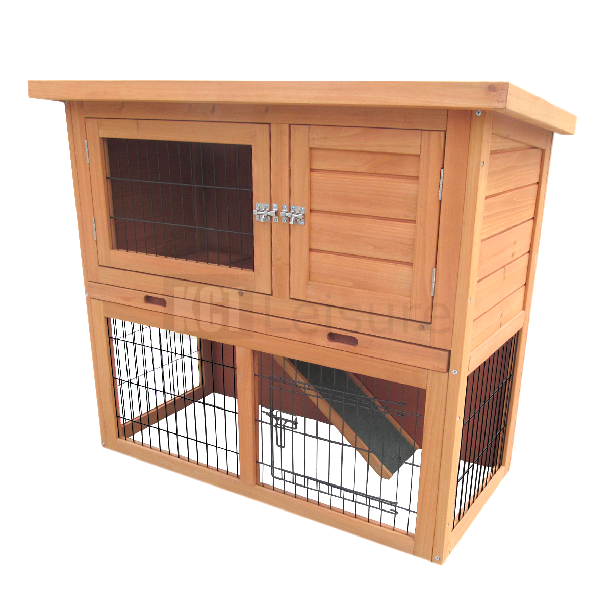 3ft Outdoor Rabbit Hutch And Run With 2 Two Tier Wooden