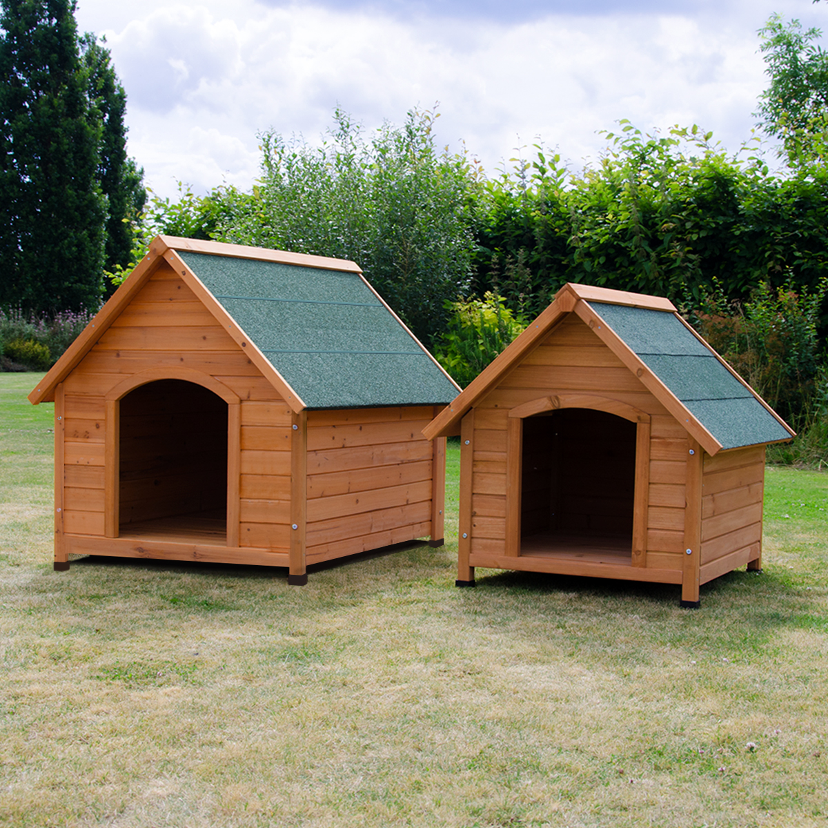 Sentinel Oxford Dog Kennel Wooden Pet House Apex Roof Outdoor Shelter Wood Home