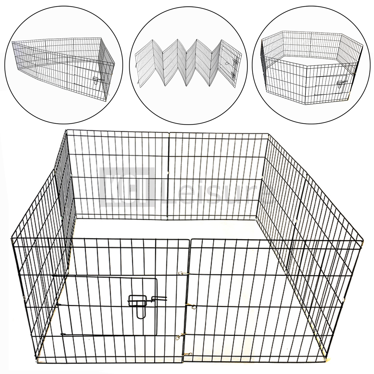 MEDIUM PET PUPPY WIRE PLAY PEN CAGE ANIMAL RABBIT RUN 8 SIDED METAL ...