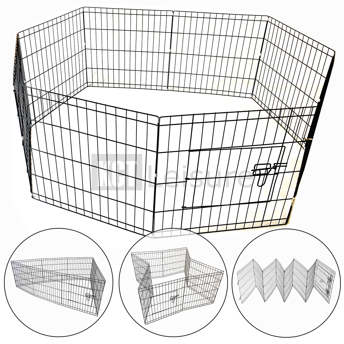 large 76cm pet puppy wire play pen cage dog rabbit run folding animal 5060345216196