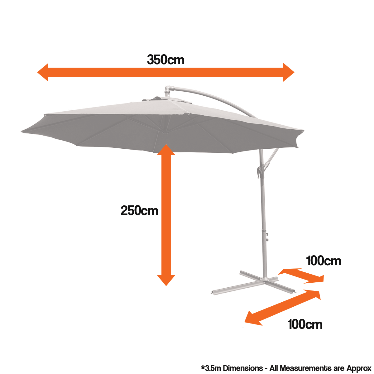 Sentinel 3 5m Large Cantilever Hanging Garden Parasol Sun Shade Patio Umbrella For Dining
