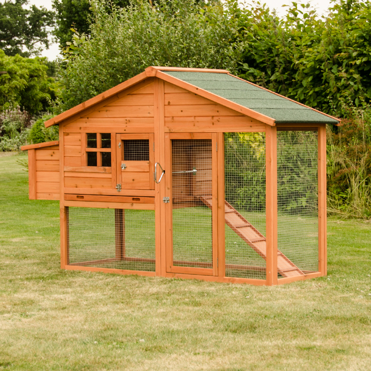 Malaga large chicken coop with run and nest box hen duck for Chicken and duck coop