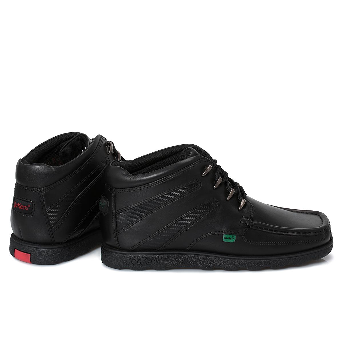 Black kicker sandals - Kickers Black Leather Junior Lace Up Boots Kids School Shoes Size 40 46