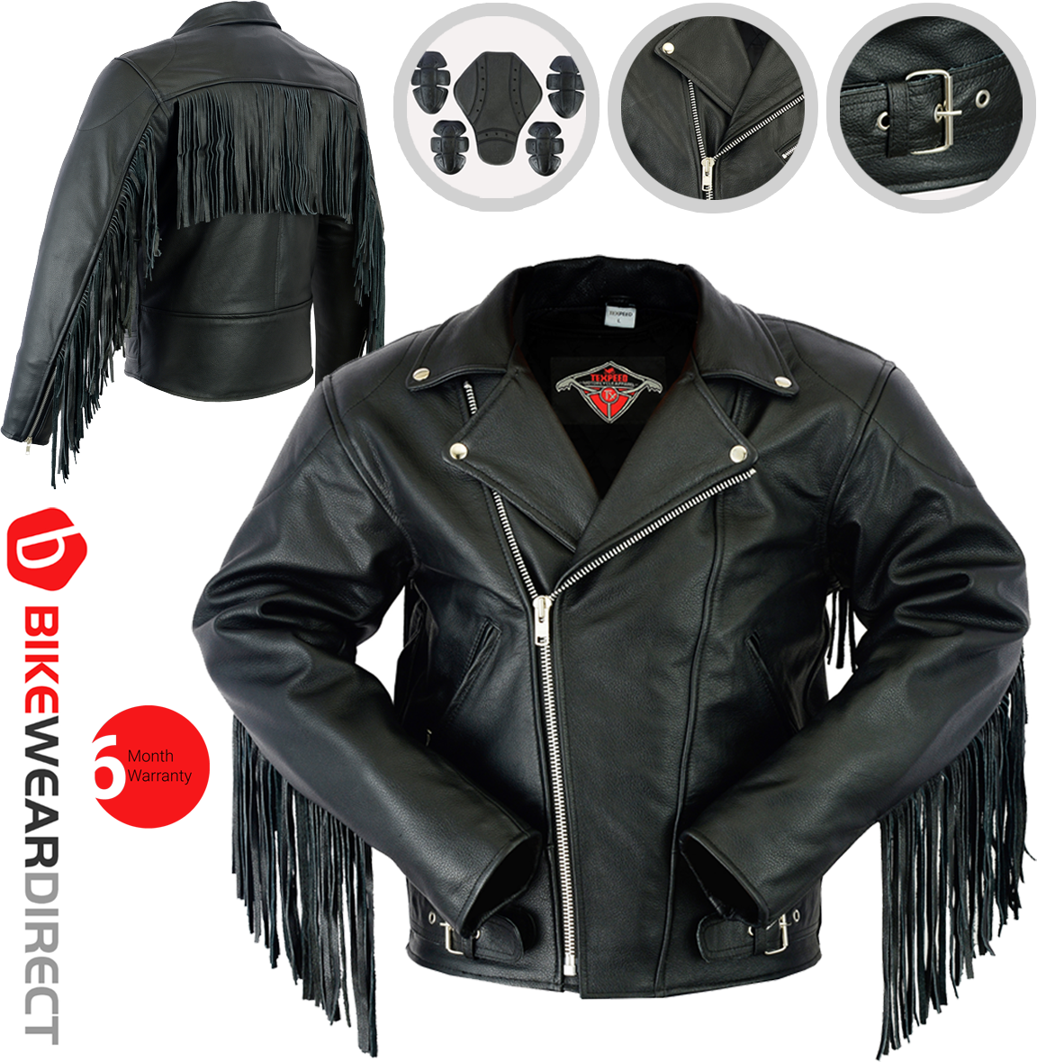 Texpeed Mens Leather Brando Tassel Jacket