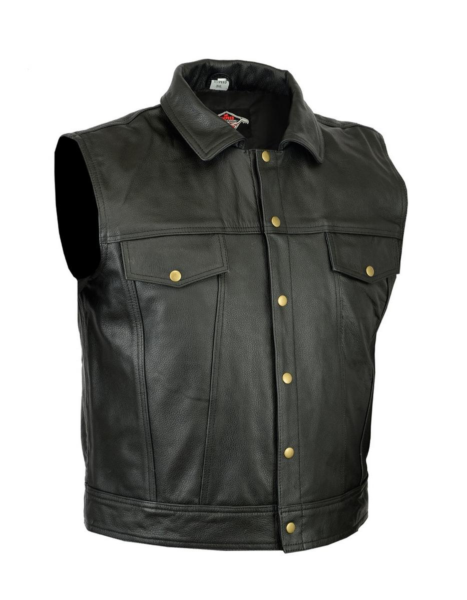 Quality Leather Waistcoat Motorbike Biker Mens Motorcycle Vest Casual Collared