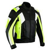 Leather Hi Vis Motorbike Jacket Racing Motorcycle Biker With CE Protect Armour