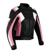 Womens Ladies Leather Motorbike Jacket With CE Armour Protection Thermal Lining