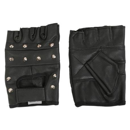 Texpeed Black Fingerless Studded Leather Gloves