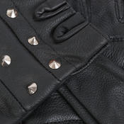 S & 2XL - Quality Real Cowhide Leather Fingerless Studded Style Biker Summer