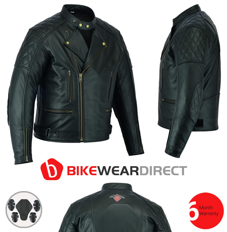 Texpeed Diamond Stitched Brando Leather Jacket