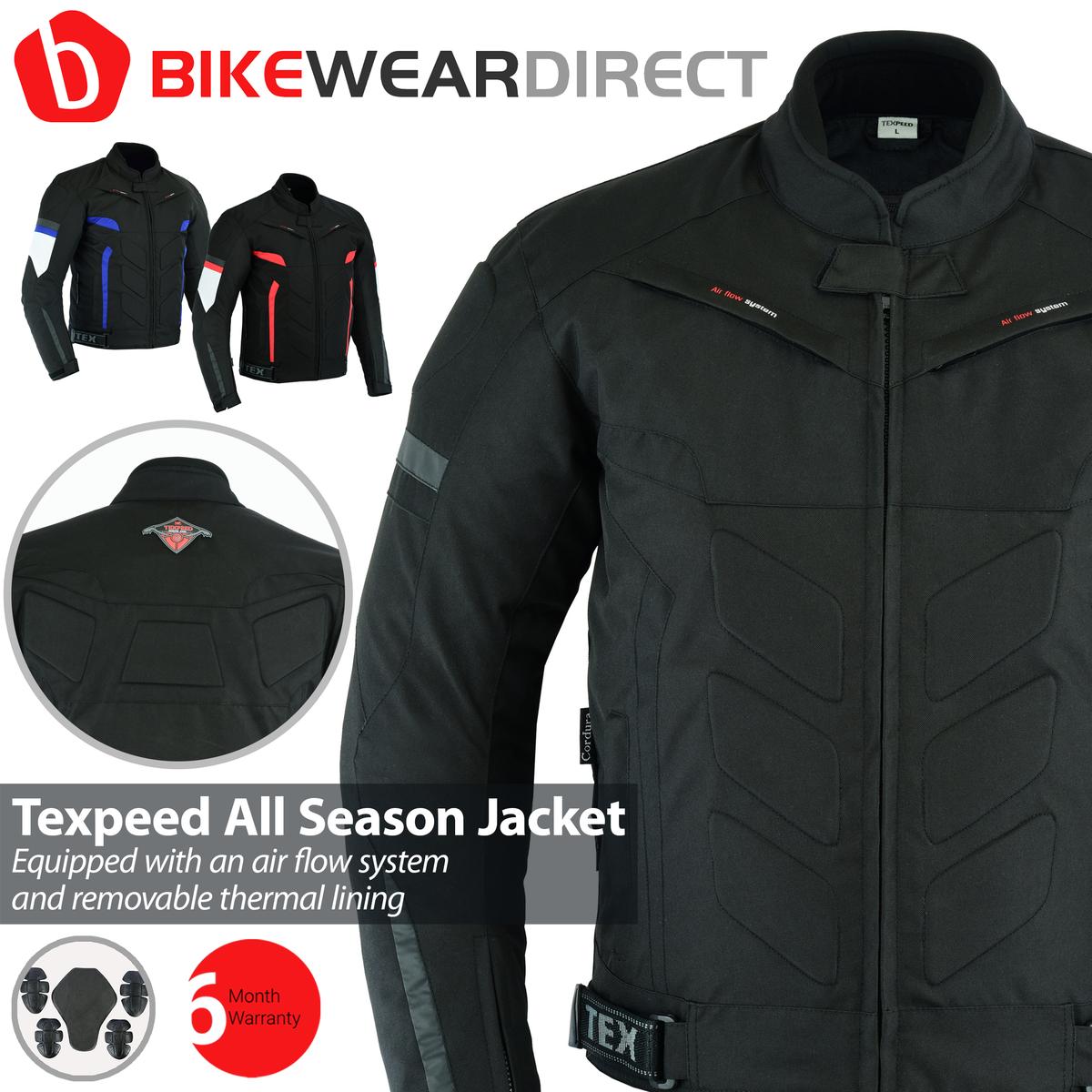 Texpeed Black Short Vented Motorcycle Jacket
