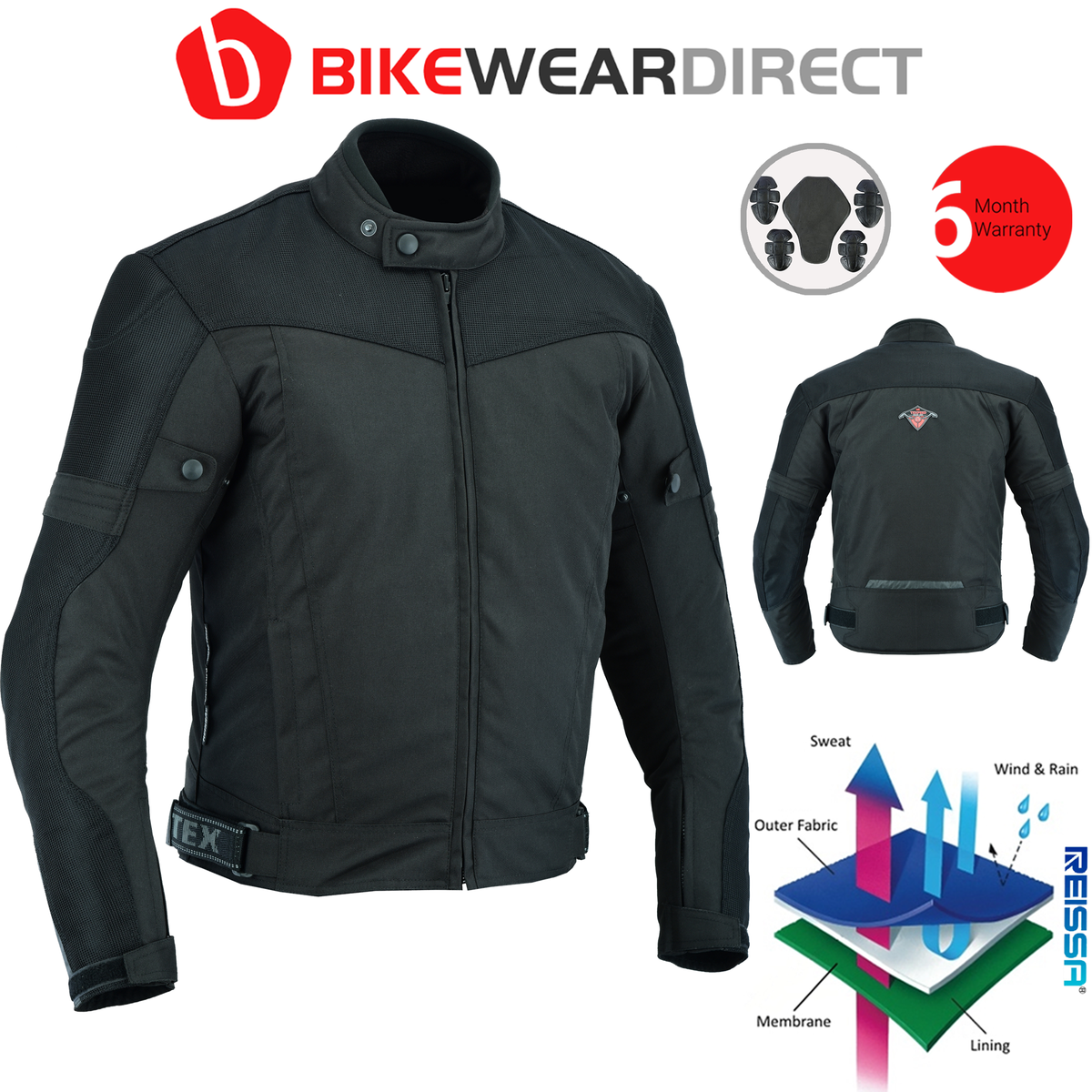 Texpeed Black Short Vented Mesh Motorcycle Jacket