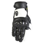 Summer Lightweight Black & White Short Leather Motorcycle MX Motorbike Gloves