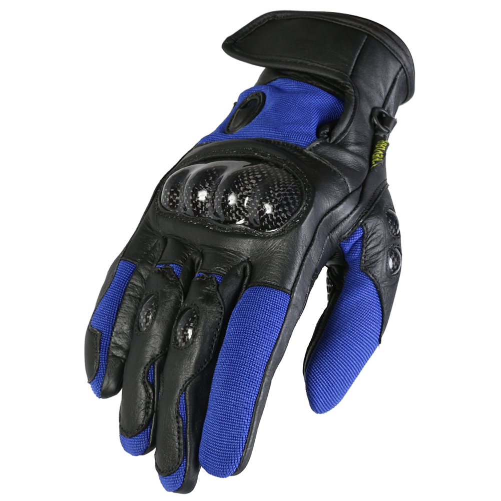 Texpeed Short Black & Blue Leather Gloves