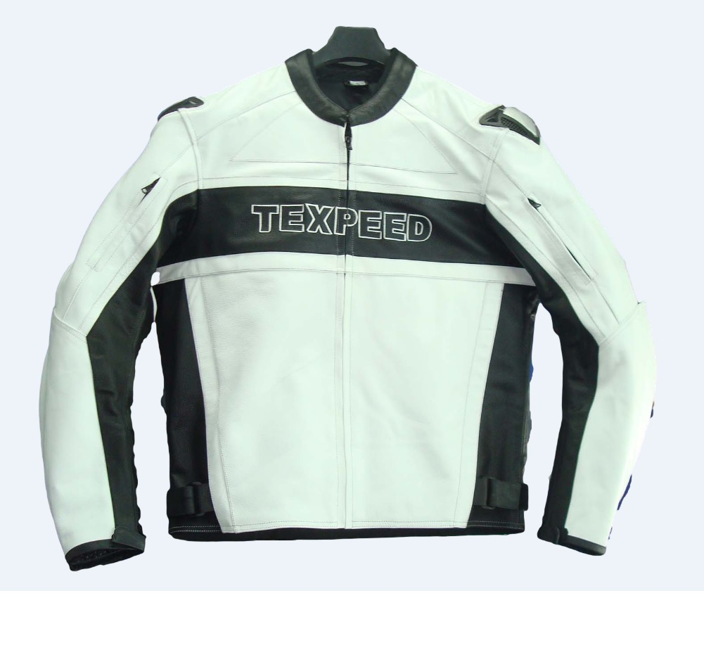 Texpeed Mens Leather White & Black Racing Jacket