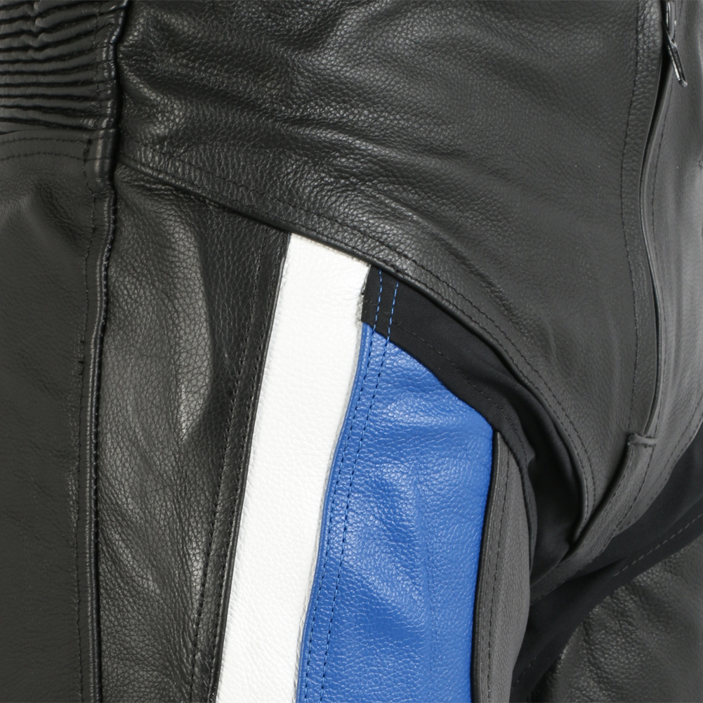 88cfa2db7e1335 Sentinel Turin Black   Blue Leather Motorcycle   Motorbike Trousers Sliders    Protection