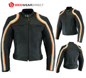 Turin Black Leather Stripe Motorbike Jacket