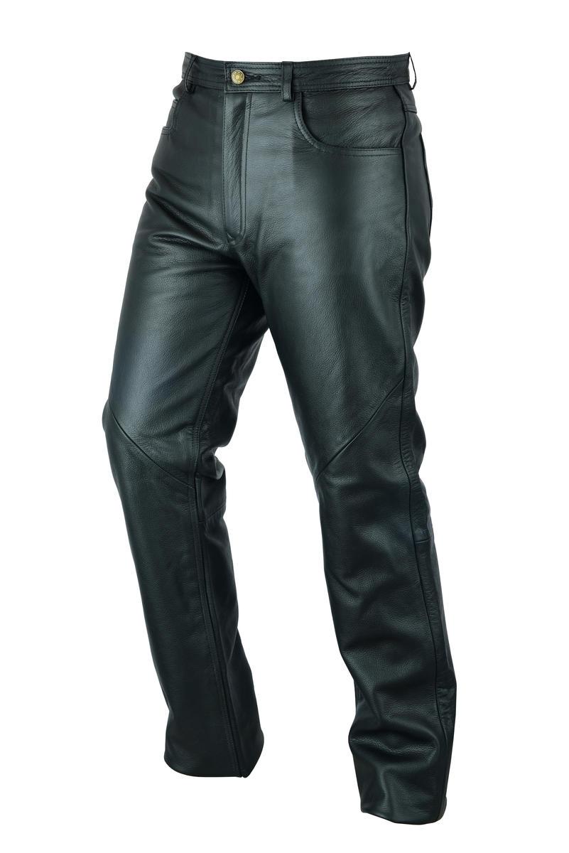 Mens Black Leather Trousers Motorbike Motorcycle Trousers Biker Cowhide Soft Pan