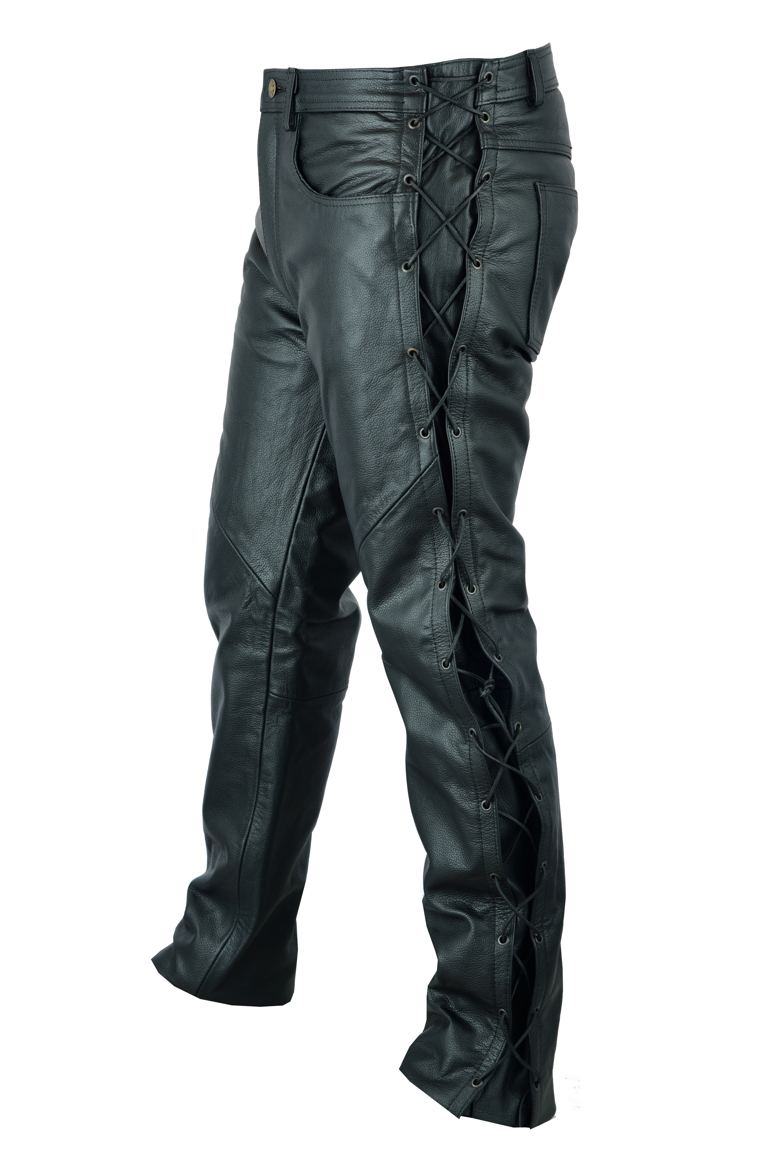 Leather MOTORCYCLE TROUSERS Mens Cowhide Biker Pants Black Lace Motorbike Jeans