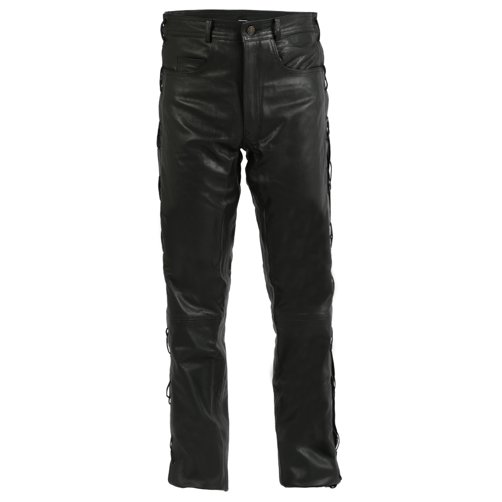 Texpeed Black Leather Jeans With Laced Sides