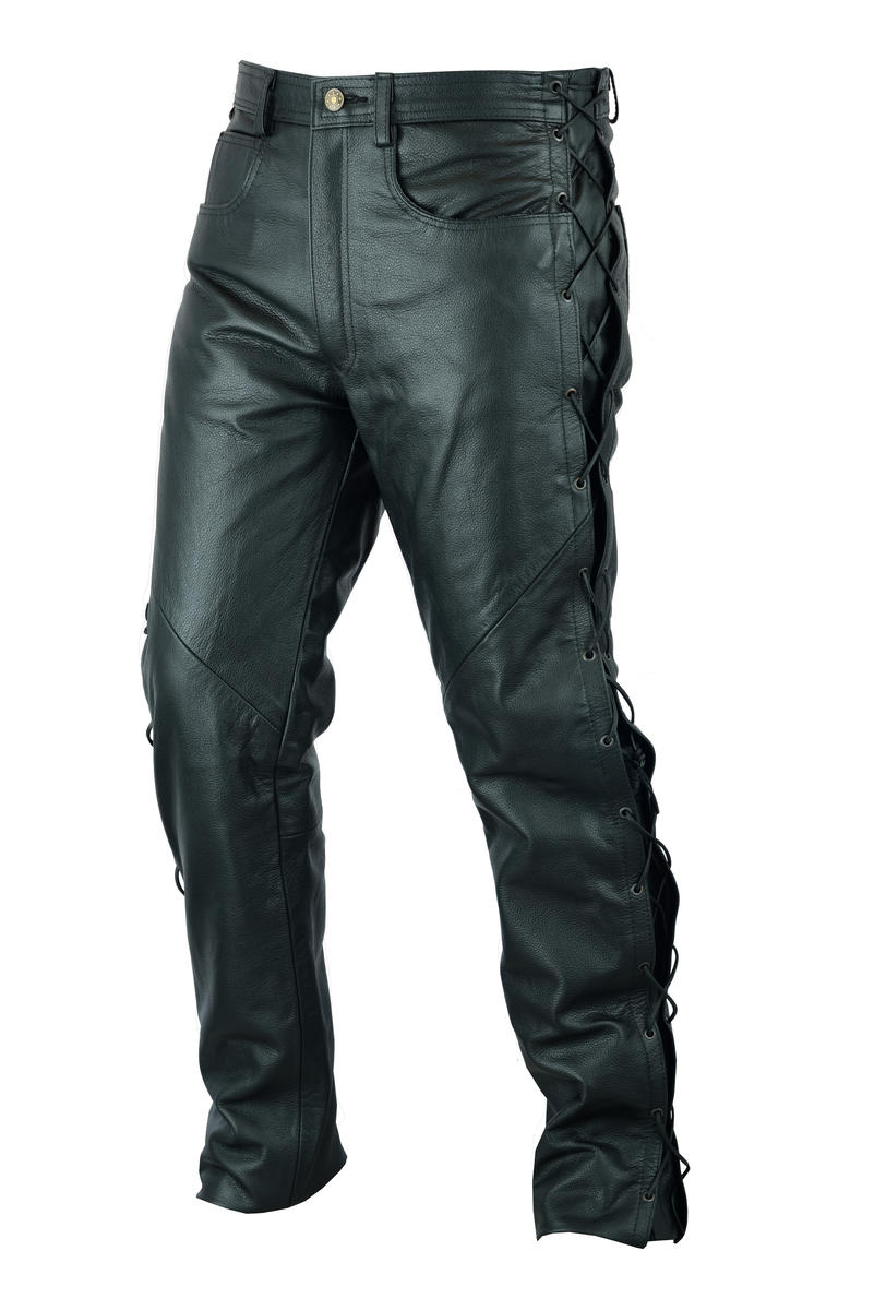 Mens Black Laced Sides Cowhide Leather Motorcycle Motorbike Biker Trousers Trous