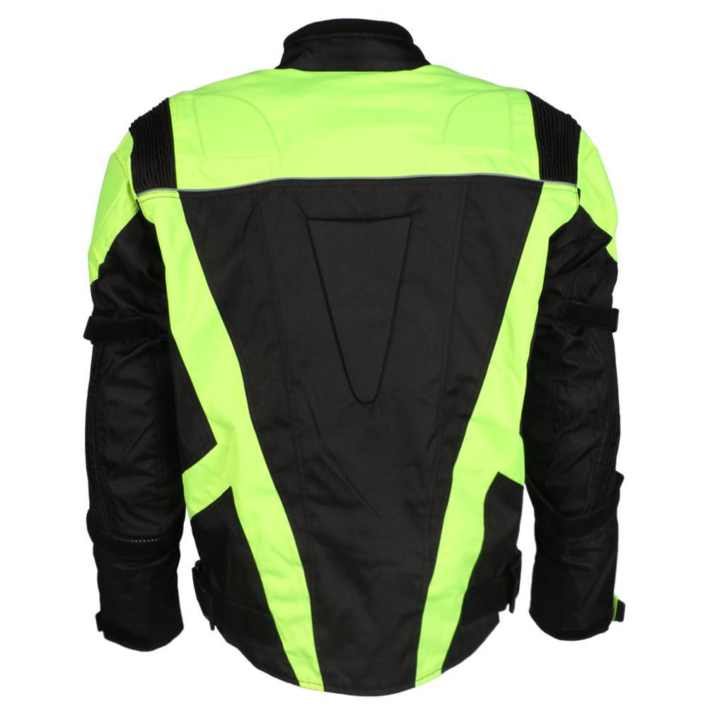 Mens Black & Hi-Vis Waterproof Motorcycle Motorbike Jacket With Protection