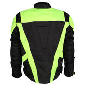 Mens Black & Hi-Vis Waterproof Motorcycle Motorbike Jacket With Protection