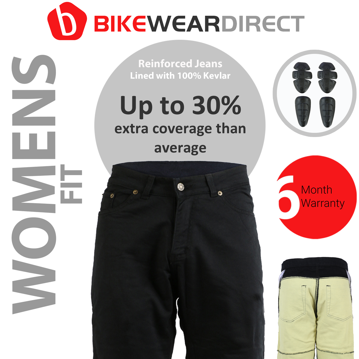 Turin Womens Motorcycle Wear Black Denim Protective Aramid Lined Trousers