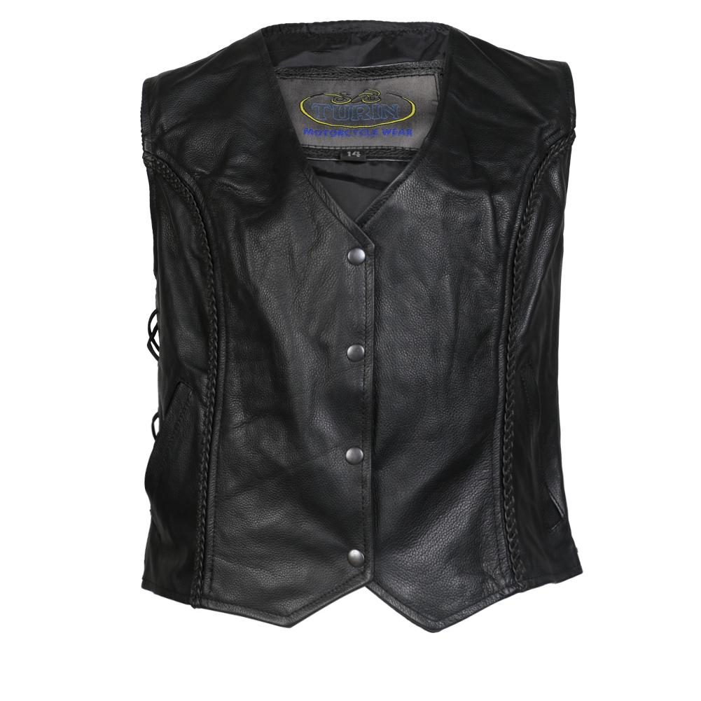 Turin Ladies Cowhide Leather Waistcoat Vest