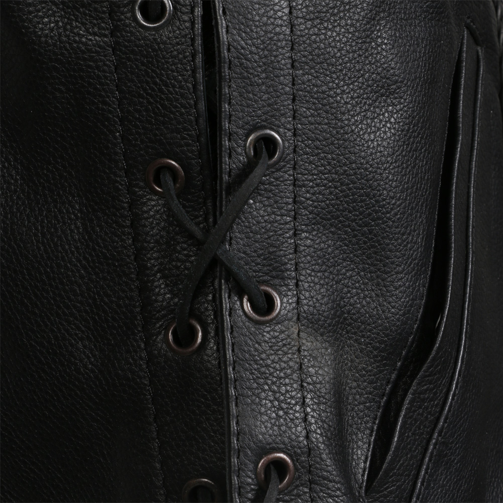Womens Black Leather Motorcycle / Motorbike Classic Waistcoat For Ladies