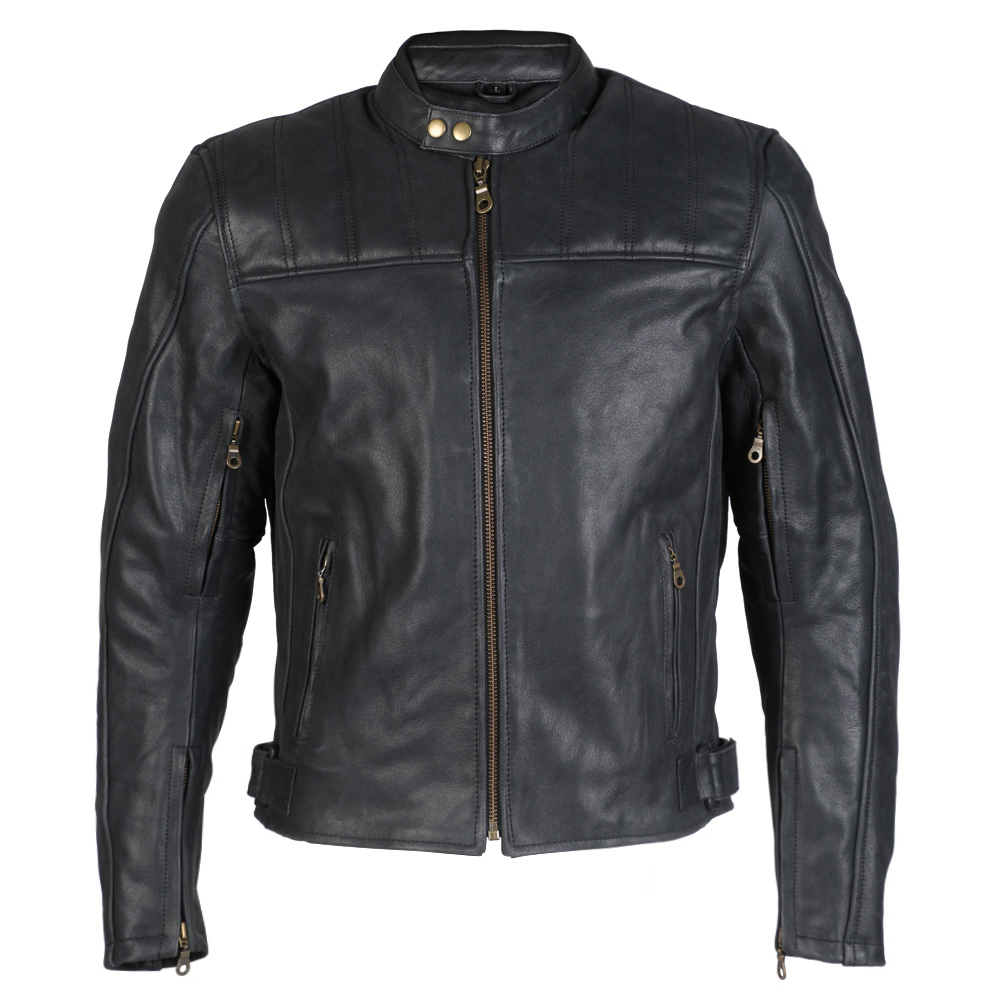 Turin Black Distressed Leather Motorbike Jacket