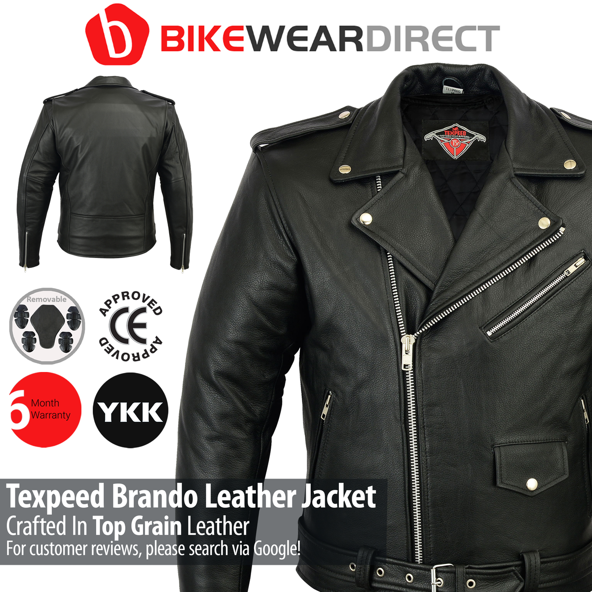 Mens Leather Brando Jacket In Black