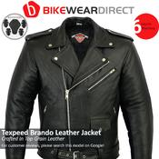 Mens Leather Brando Jacket In Black