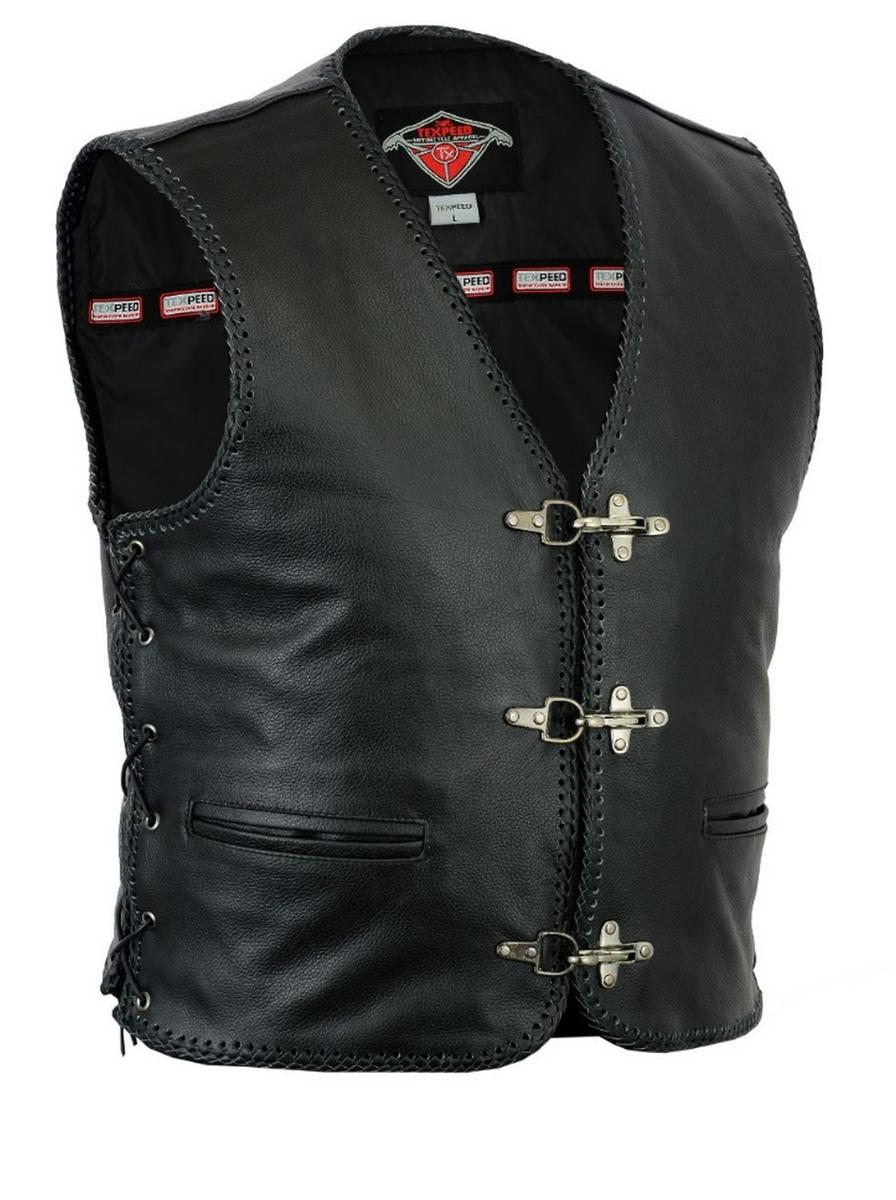 Leather Waistcoat Motorbike Fish Hook Clip Braided Laced Biker Motorcycle Vest