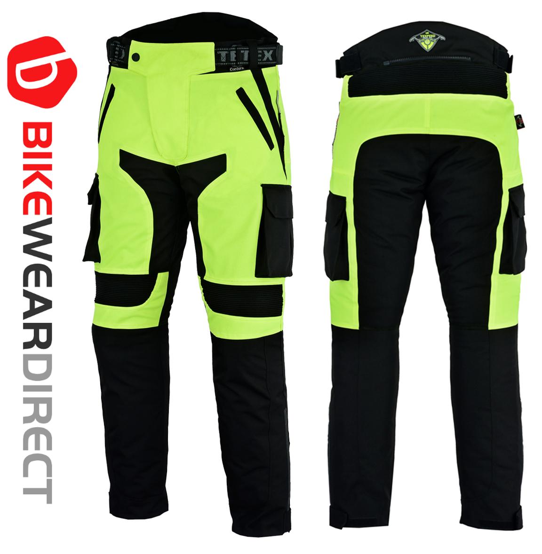 Armoured Reflective Waterproof Texpeed Mens Hi-Vis Motorcycle//Motorbike Trousers By Texpeed