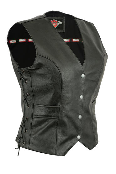 Womens Ladies Leather Waistcoat Motorcycle Biker Motorbike Fitted Cut With Laces