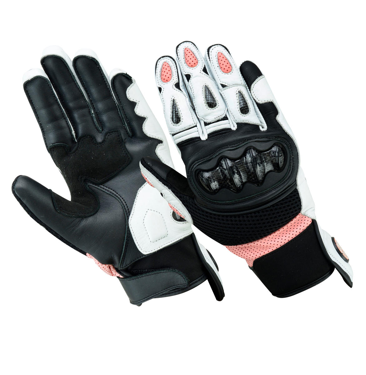Womens Leather Motorcycle Gloves Ladies Motorbike Biker With CE Protection Black