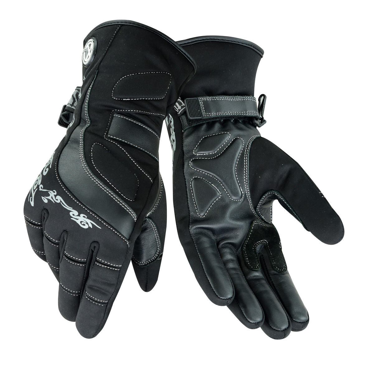 Womens Leather Motorcycle Warm Gloves Ladies Black Motorbike Waterproof Biker