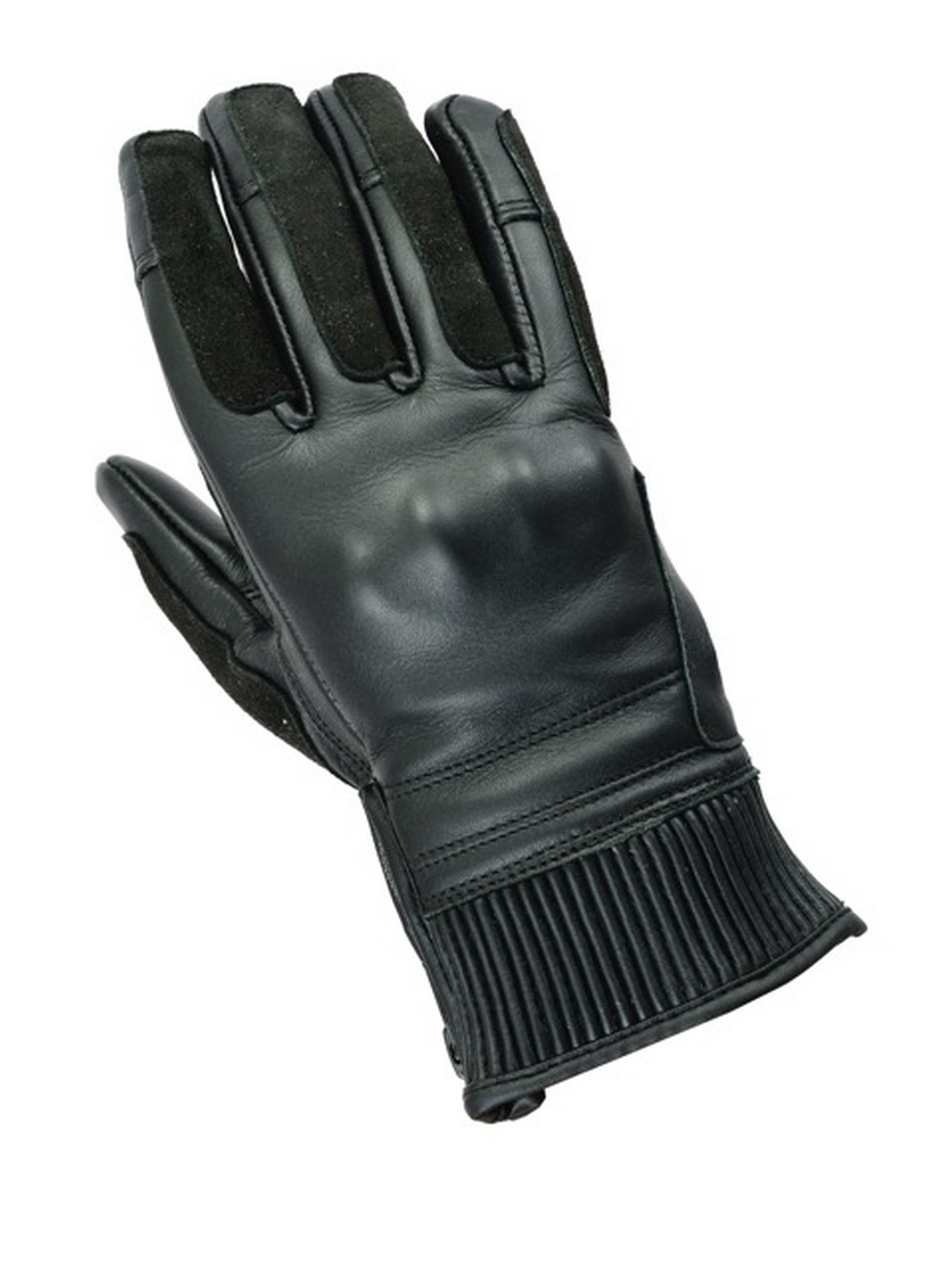 Womens Black Short Cuff Leather Cruiser Motorcycle//Motorbike Gloves XS to XL